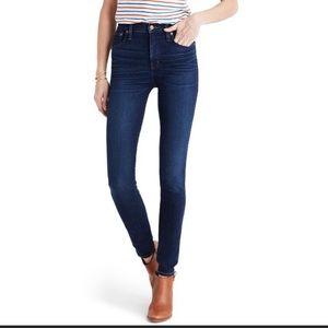 """Madewell High Rise 10"""" skinny jeans dark wash"""